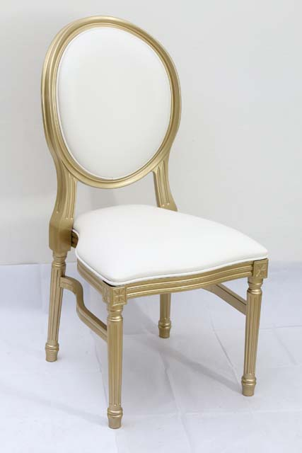 Louis Pop Chair Gold with White Cushion Detroit Chiavari
