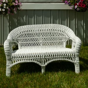 Children's White Wicker Bench