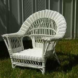Kids White Wicker Chair