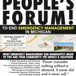 People's Forum to End Emergency Management, Sat., Aug. 17