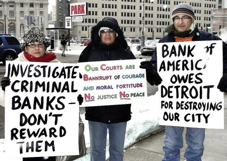 Detroit protesters outside of court Dec. 17