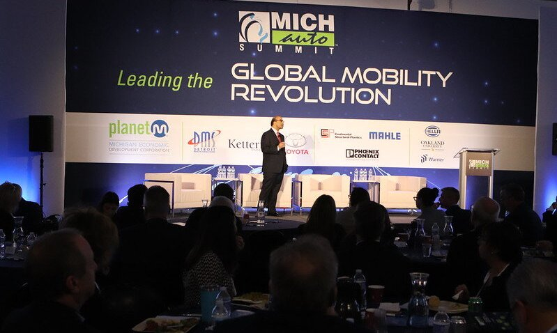 Detroit Regional Chamber CEO and President Sandy Baruah onstage at the 2020 MICHauto Summit