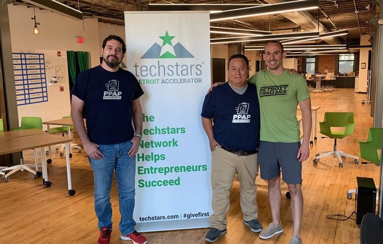 PPAP Manager cofounders Rene Pons and Vinnie Delgado with TechStars Detroit managing director Ted Serbinski.
