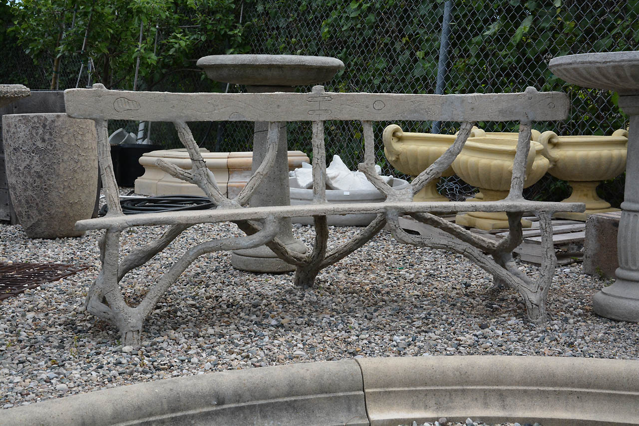 Antique French Faux Bois Bench