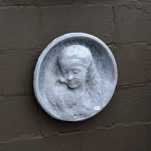 Cast Concrete Girl with Bird Plaque