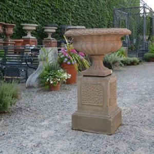 English Urn on Vermiculated Plinth
