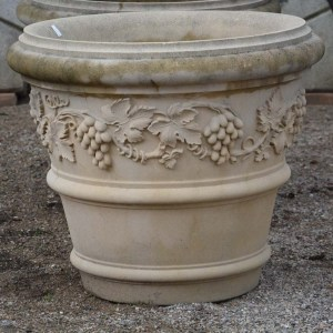 English cast stone vase with grapevines from David Sharp Studio (2)