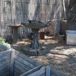 Large Hand-Carved Concrete Faux Bois Birdbath