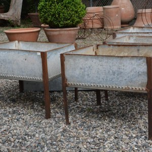 Vintage English Riveted Galvanized Troughs