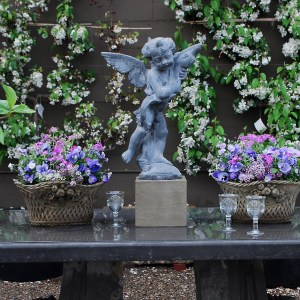 planted English Concrete with Statuary