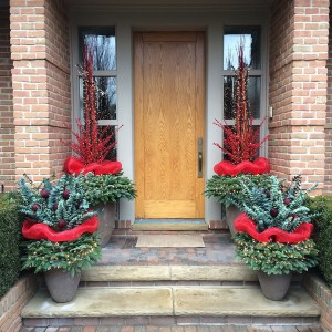 Holiday Entry with Eucalyptus and Red Berry
