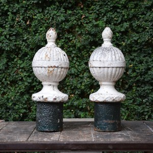 Painted White Cast Iron Finials