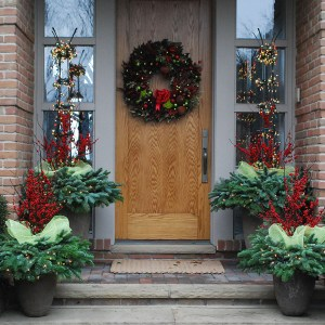 Red and Green Holiday Planters