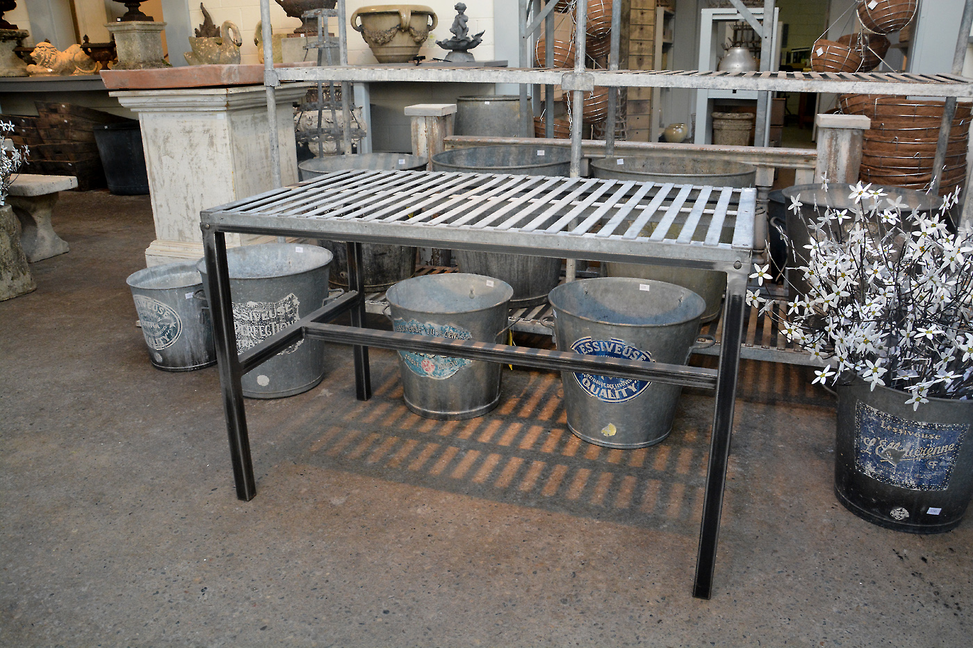 Table With Galvanized Slatted Top