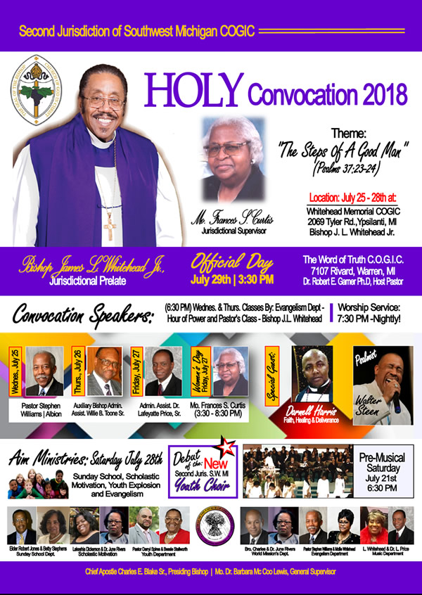 JUL 25-28: 2nd Jurisdiction of SW MI COGIC Holy Convocation