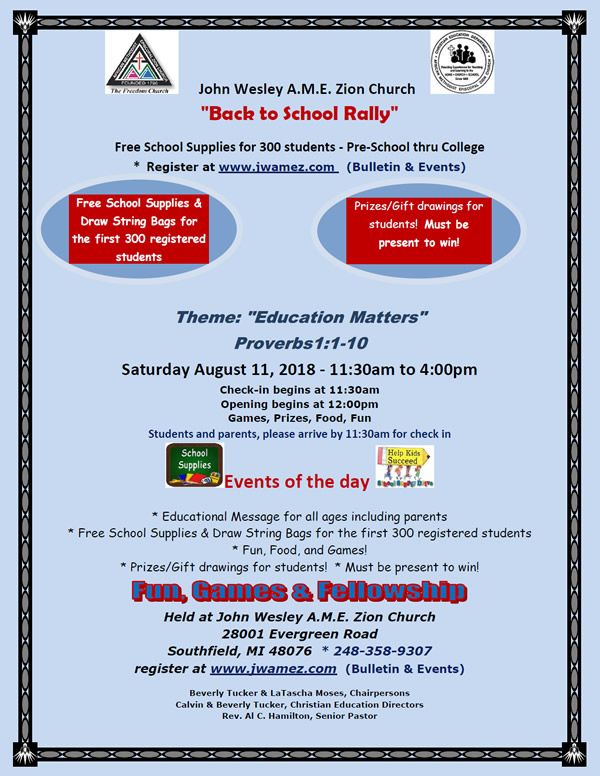 AUG 11: FREE School Supplies for 300 students @ John Wesley A M E