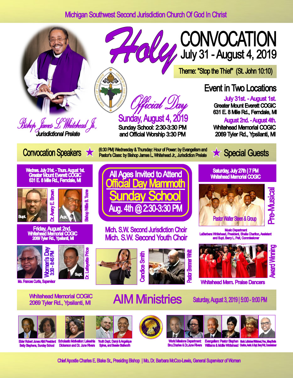 JUL 31 – AUG 4: Michigan Southwest 2nd Jurisdiction COGIC Holy