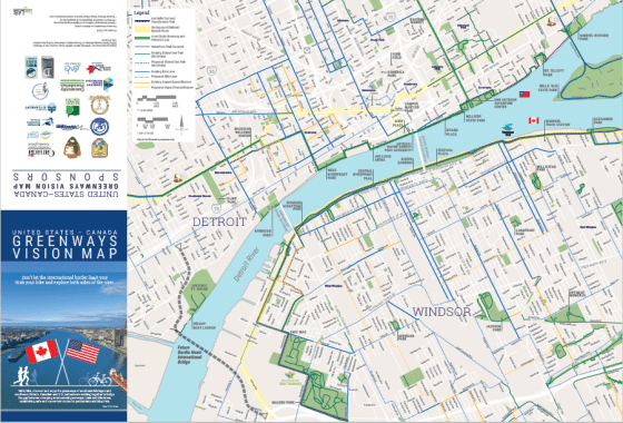 Map Of Detroit To Canada US Canada Greenways Vision | Detroit Greenways Coalition