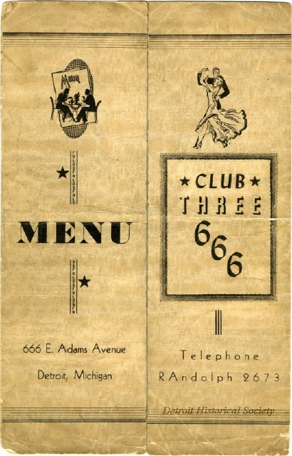 Club 666 menu, courtesy Burton Historical Collection, Detroit Public Library