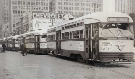 DETROIT STREETCARS. PHOTO BY WALTER P REUTHER LIBRARY