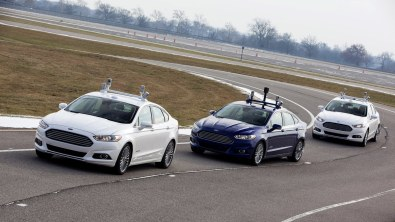 Ford's driverless car on the test track.