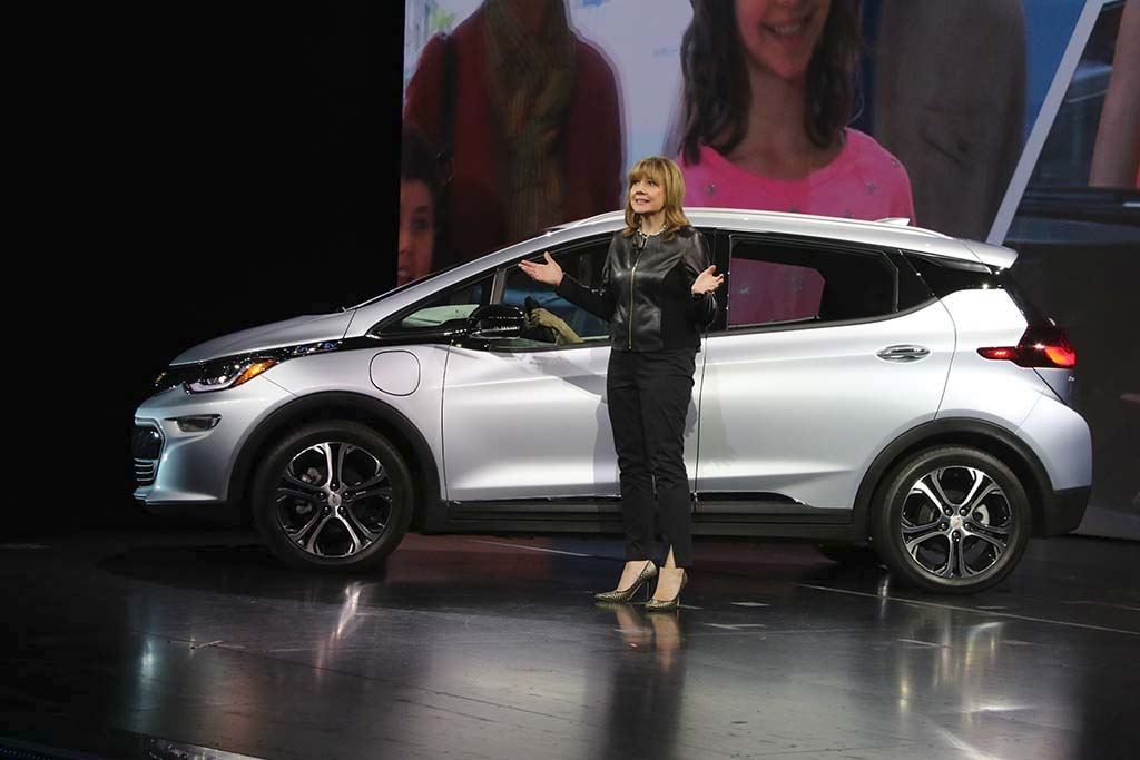 GM's Mary Barra Unveils Chevy Bolt EV at CES Vegas in 2016