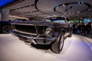 Ford reveals the new Bullitt alongside Steve McQueen's original 1968 Bullitt mustang.