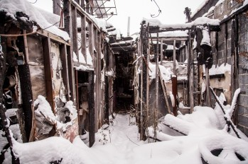 The burned out remains of the Dizzy Duck, a strip club that resided on Detroit's 8 Mile Rd. Photo Stephanie Hume.