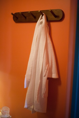 Robes are provided for use in the saunas at Meta Physica.