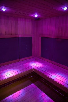 One of several individual infrared saunas at Meta Physica. Photo Stephanie Hume