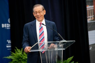 PHILANTHROPIST STEPHEN M. ROSS SPEAKS AT DCI PRESS CONFERENCE PHOTO ACRONYM