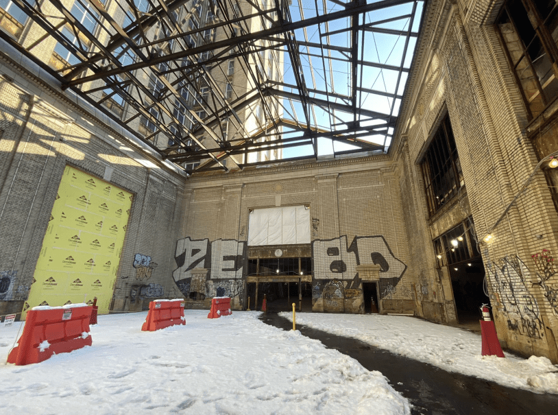 GRAFFITI REMAINS INSIDE THE MICHIGAN CENTRAL STATION. PHOTO KATAI