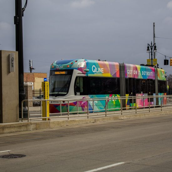 PUBLIC TRANSIT IN METRO DETROIT THE QLINE PULLS INTO THE AMSTERDAM ST. STOP ON WOODWARD AVENUE. PHOTO JOHN BOZICK