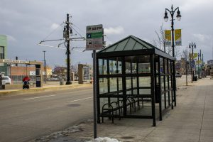 A BUS STOP ON WOODWARD AVENUE. PHOTO JOHN BOZICK