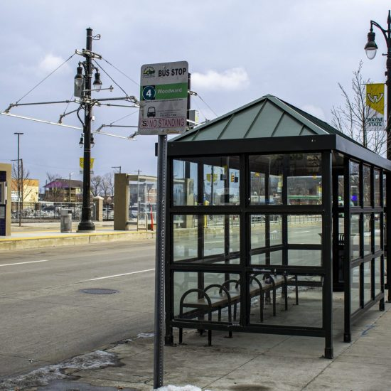 TRANSPORTATION IN METRO DETROIT A DDOT BUS STOP ON WOODWARD AVE. PHOTO JOHN BOZICK
