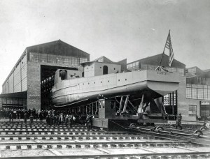 EAGLE BOAT 1 BEING LAUNCHED AT ROUGE