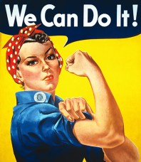 "ICONIC ROSIE THE RIVETER POSTER WITH THE WORDS ""WE CAN DO IT"""