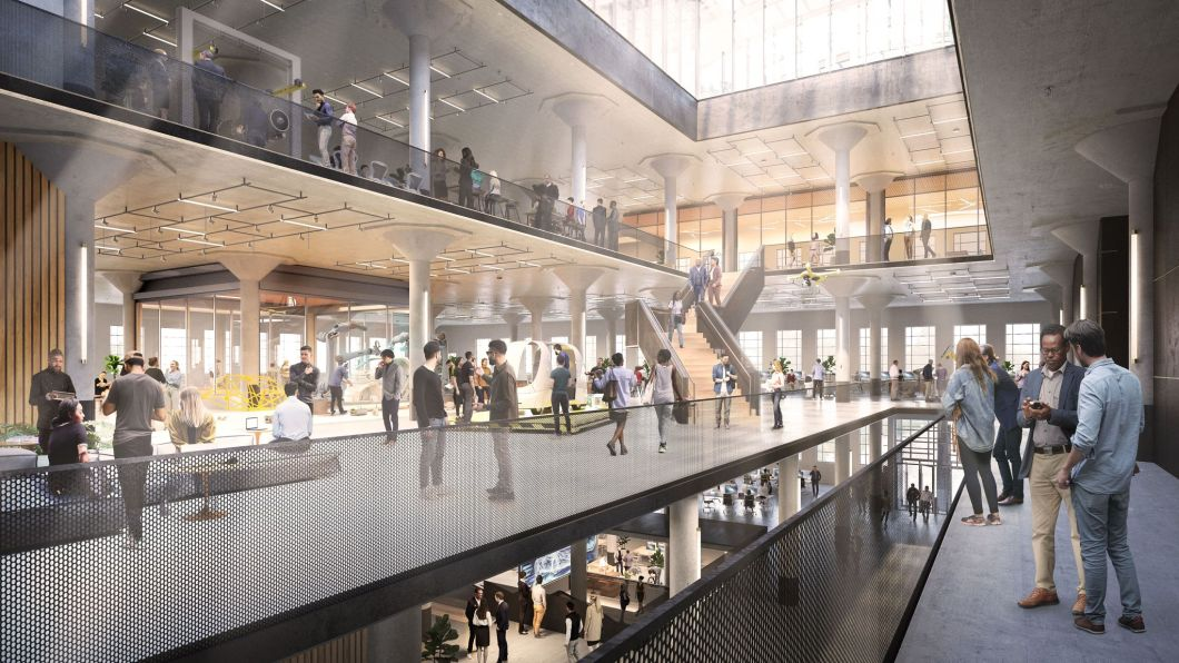 A RENDERING OF THE BOOK DEPOSITORY ATRIUM. PHOTO GENSLER
