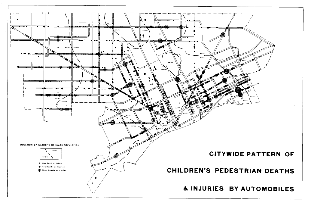 Map: Citywide pattern of children's pedestrian deaths