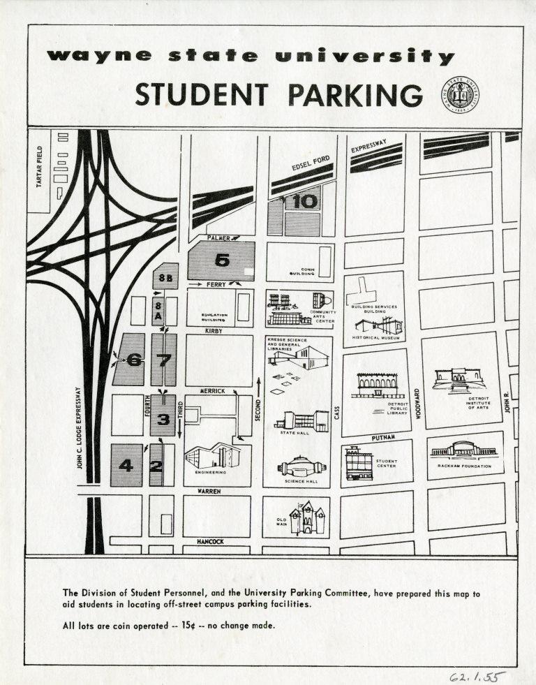 Map: Wayne State University Student Parking 1960