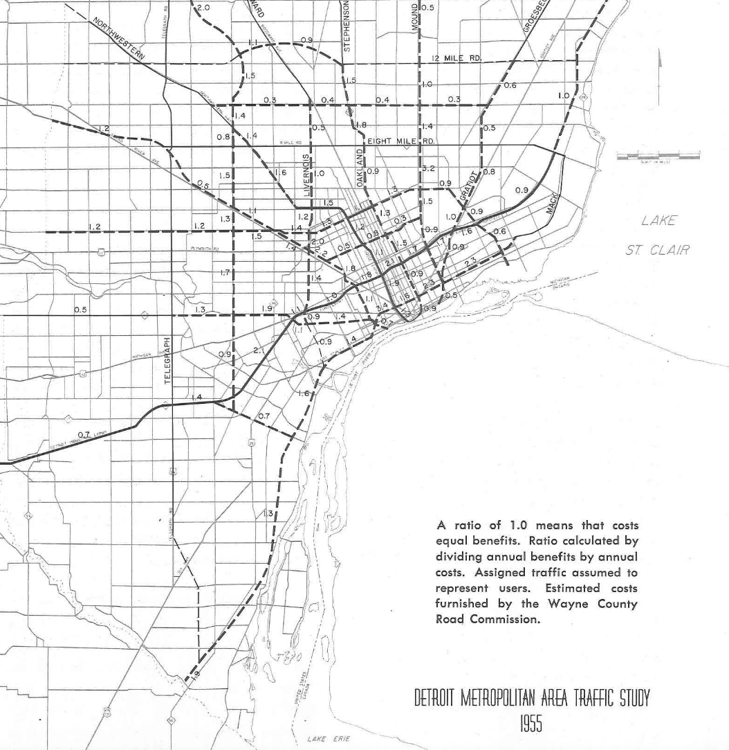 Map: Detroit Highway Construction Benefit Cost Ratio 1955