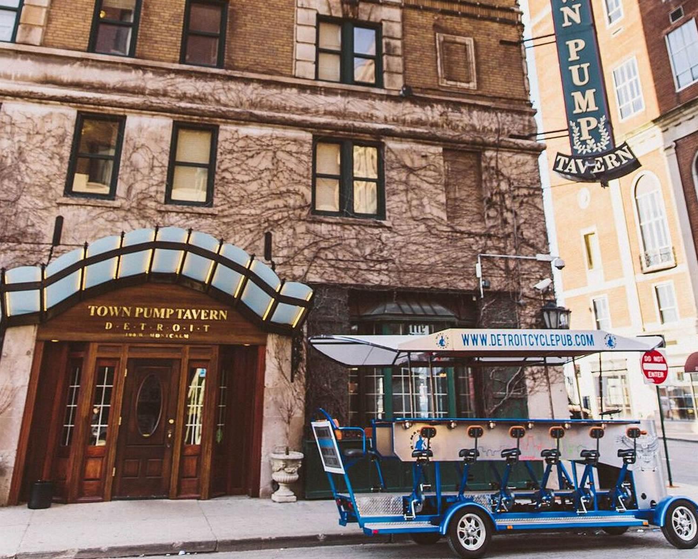 blue chair rum desk low back detroit rolling pub : pedal tour of detroit! michigan's top rated bar!