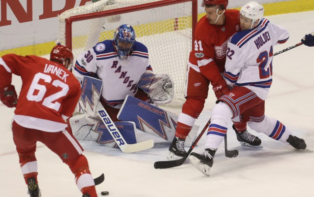 Red Wings collect one point, fall to Rangers in overtime, 1-0
