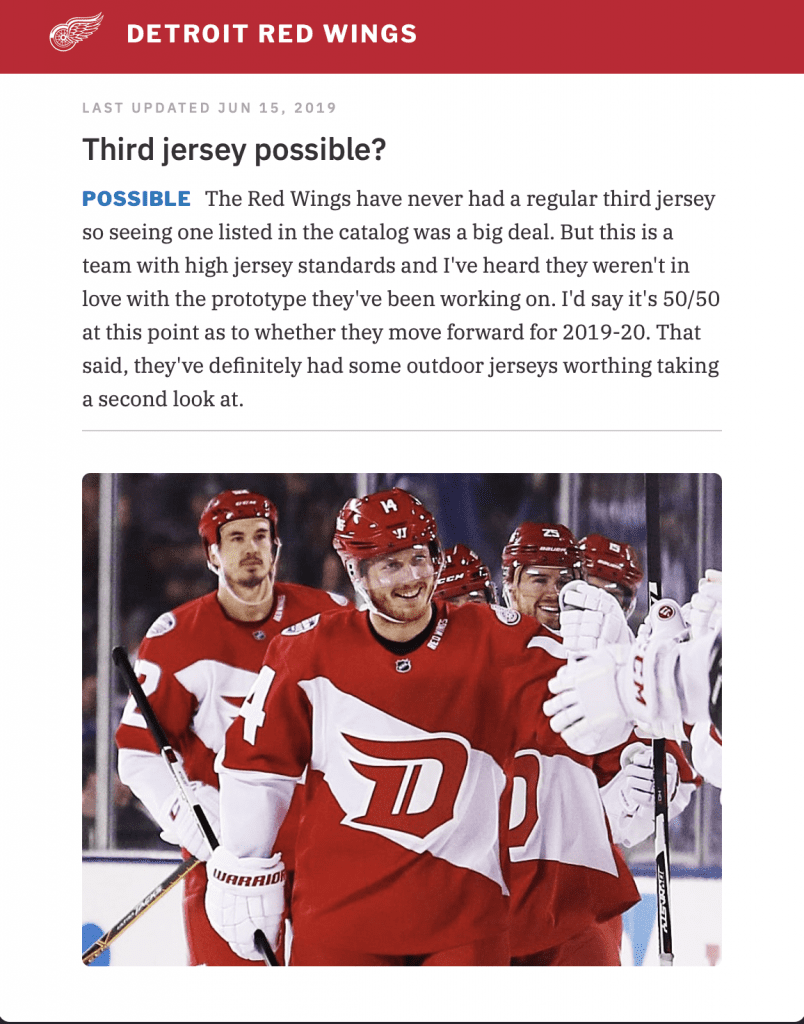 buy popular b9ca9 122d4 RUMOR: Detroit Red Wings may be adding third jersey for 2019 ...
