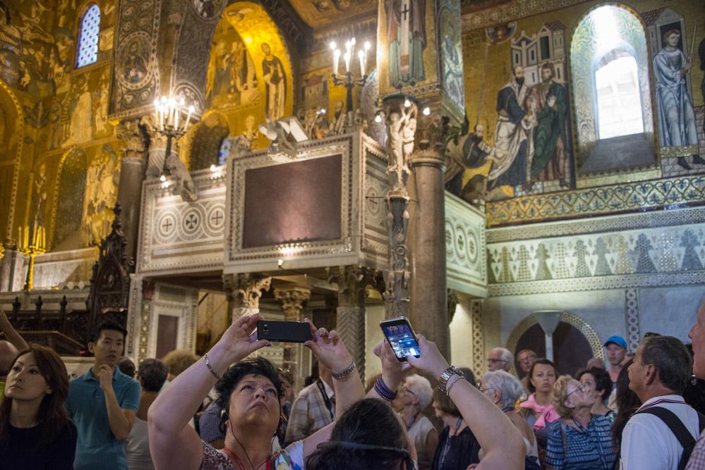 Turister i Palermo, reise, Sicilia, Capella Palatina