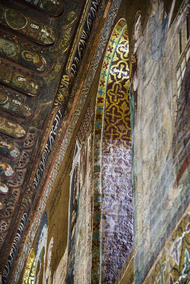 Mosaikkunst i Capella Palatina i Palermos Castello Reale i Palermo