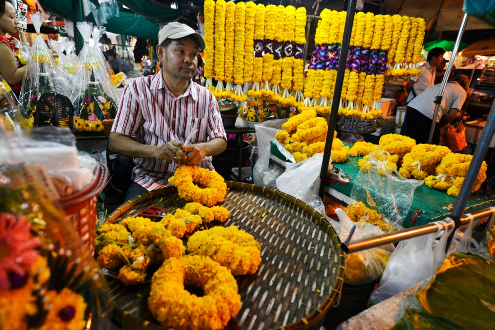 Blomstermarkedet Pak Klong Talad i Bangkok