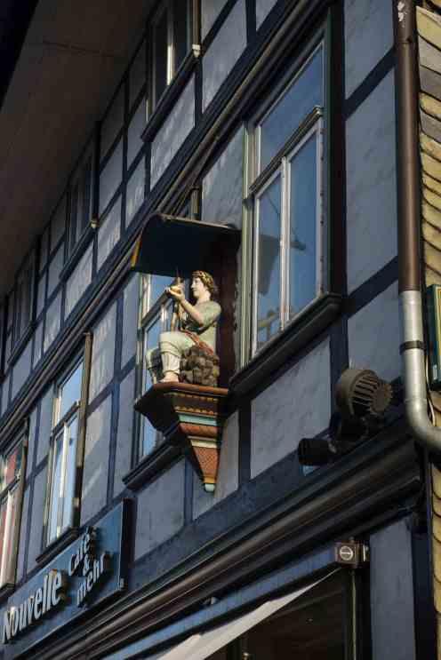Fasade på bindingsverkshus i Goslar