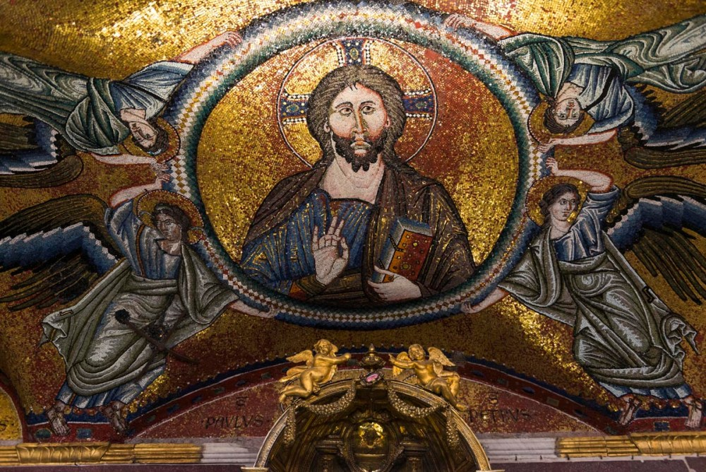 Gotisk Kristus-mosaikk i Sancta Sanctorum i Roma