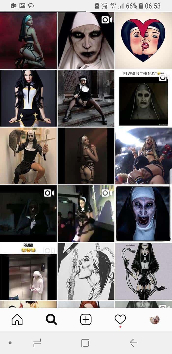 Hashtaggen #nun på Instagram